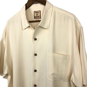Tommy Bahama Cream 100% Silk Button Up Shirt Large